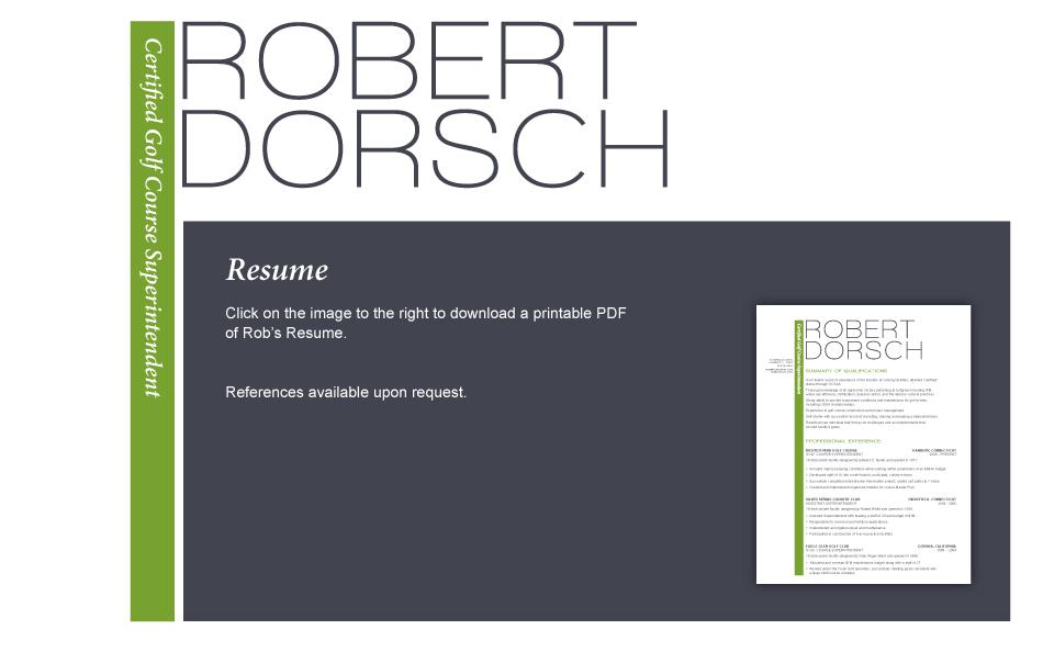 robert dorsch certified golf course superintendent